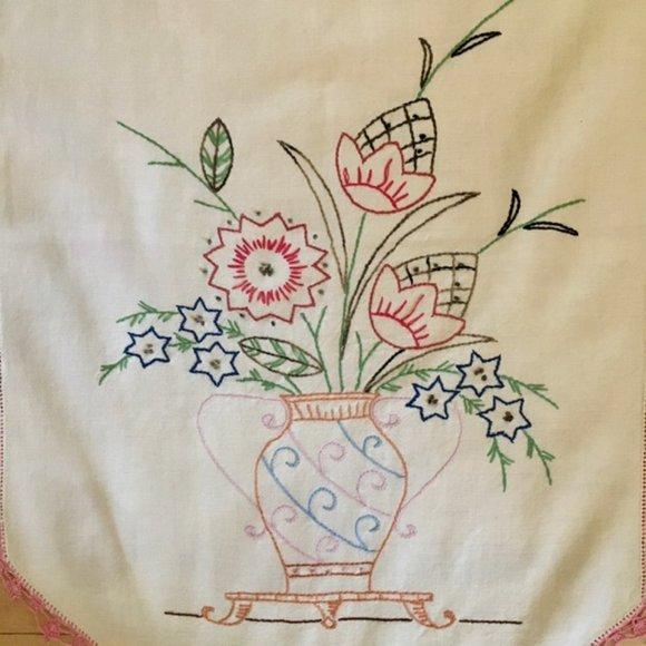 Vintage Dresser Scarf Table Runner Hand Embroider